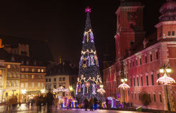 CHRISTMAS TREE, LIGHTINGS IN OLD TOWN, WARSAW, POLAND. Royalty Free Stock Photo