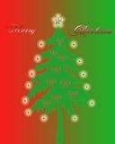 Christmas Tree With Lights Stock Photo