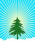 Christmas Tree Lights. Christmas tree with color lights and snow on ground. Retro background, trendy and vibrant. Add your own star at top of tree Stock Images