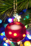 Christmas Tree And Lights. A red christmas ornament hanging from a tree with colorful glowing lights royalty free stock photography