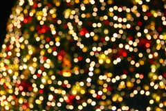 Christmas tree lights. Colorful out of focus Christmas tree lights blurred
