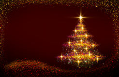 Christmas tree lights background. Merry Christmas and Happy New Year Card with beautiful golden Christmas tree Royalty Free Stock Photo