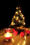 Christmas tree with lights and candles Royalty Free Stock Photography