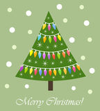 Christmas tree lights card Royalty Free Stock Images