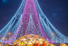 Free Christmas Tree Lights Closeup Stock Photography - 135761142