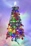 Christmas Tree with Lights On Stock Photos