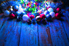 Christmas tree with lights and decorations. Copyspace Royalty Free Stock Photos