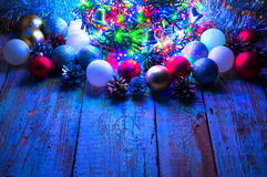 Christmas tree with lights and decorations. Copyspace Royalty Free Stock Image