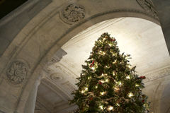 Christmas Tree with Lights and Decorations in New York Public Library. Shot Elevation Style Stock Images