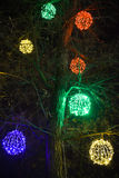 Christmas tree lights. Defocused christmas lights background on the photo stock photos