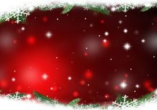 Christmas red lights formed from stars background snow. Christmas tree lights formed from stars background blue Royalty Free Stock Photos