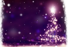 Christmas tree lights formed from stars background mauve snow. Christmas tree lights formed from stars background blue Royalty Free Stock Images