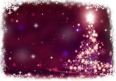 Christmas tree lights formed from stars background snow. Christmas tree lights formed from stars background blue Royalty Free Stock Photos