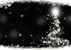 Christmas tree lights formed from stars background snow. Christmas tree lights formed from stars background blue Stock Photography
