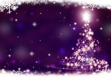 Christmas tree lights formed from stars background mauve snow. Christmas tree lights formed from stars background blue Stock Photography