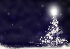 Christmas tree lights formed from stars background blue snow christmas background illustration Royalty Free Stock Photos