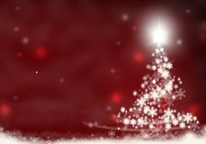 Christmas tree lights formed from stars background red snow christmas background illustration Stock Photo