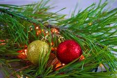Christmas tree and lights garland. Christmas card.Christmas tree and lights garland royalty free stock images