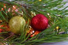 Christmas tree and lights garland. Christmas card.Christmas tree and lights garland stock image