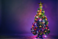 Christmas tree with lights garland Stock Photos