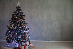 Christmas tree with lights Garland homes for the new year. 1 Stock Image