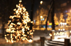 Christmas tree with lights glowing. And snow Royalty Free Stock Photos