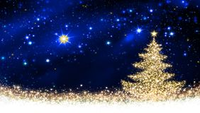 Golden Christmas tree and star sky. Royalty Free Stock Images