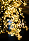 Christmas tree lights with bokeh stock photo