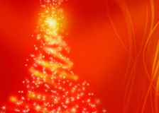 Christmas tree lights magic. Christmas tree lights in red colours with graceful undulating bands Stock Photo