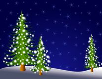 Christmas Tree Lights at Night 2. A background illustration featuring a group of Christmas trees at night with glowing lights Stock Image