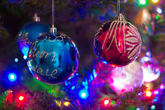 Christmas Tree Lights And Ornament Stock Photo