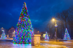 Christmas tree lights in the park Royalty Free Stock Photo