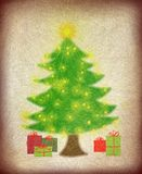Christmas tree with lights and presents. Pine tree or christmas tree with gifts and presents underneath and a star on top stock illustration