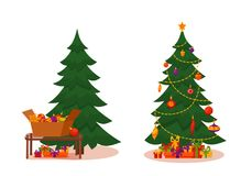 Christmas tree with lights and presents. Fir tree before and after decoration. Colorful cartoon noel holiday vector illustration Royalty Free Stock Photo