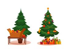 Christmas tree with lights and presents. Fir tree before and after decoration. Colorful cartoon noel holiday vector illustration Royalty Free Stock Images