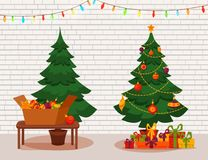 Christmas tree with lights and presents. Fir tree before and after decoration. Colorful cartoon noel holiday vector illustration Stock Photo