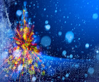 Christmas tree lights on snowy sky background Stock Images