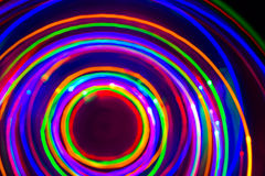 Christmas tree lights spun around to achieve a spiral glowing ef Royalty Free Stock Images