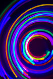 Christmas tree lights spun around to achieve a spiral glowing ef Stock Photography