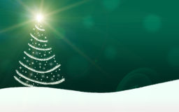 Christmas tree lights stars lightning sparkling. Green Royalty Free Stock Photo