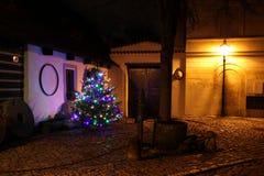 Christmas tree and lights, New World street in Prague at night (Nový Svět) Royalty Free Stock Image