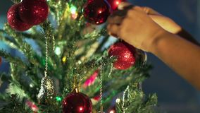 Christmas Tree Lights Twinkling. Christmas and New Year Decoration. stock footage