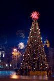 Christmas tree with lights in Vilnius Lithuania. Night view of the christmas tree on a Cathedral square in Vilnius, Lithuania. Vertical image Royalty Free Stock Image