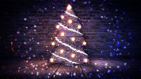Christmas tree with lights on the wooden floor, lights, lights, lights, glare, smoke. Christmas tree made of wood, New Year`s loft, light object, interior stock photography