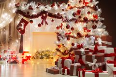 Christmas Tree Lights, Xmas Fireplace Living Room Scene, Holiday. Interior Decoration Royalty Free Stock Photo