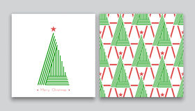 Christmas tree in line art 02 Royalty Free Stock Image