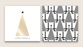 Christmas tree in line art 03. Christmas tree in line art and pattern, different stile, for postcard, poster, gifts stock illustration