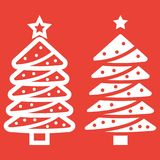Christmas tree line and gyph icon,. New year and Christmas, xmas sign vector graphics, a linear pattern on a red background, eps 10 Royalty Free Stock Photos