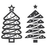 Christmas tree line and gyph icon. New year and Christmas, xmas sign vector graphics, a linear pattern on a white background, eps 10 Royalty Free Stock Photo