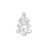 Christmas tree line icon, decorations with star. Vector graphics, a linear pattern on a white background, eps 10 Royalty Free Stock Photos